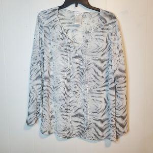 Tops - Vintage white gray animal print blouse L